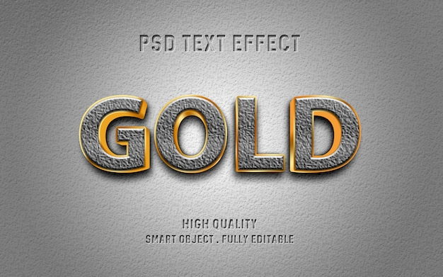 Realistic text effect with stone and gold outline