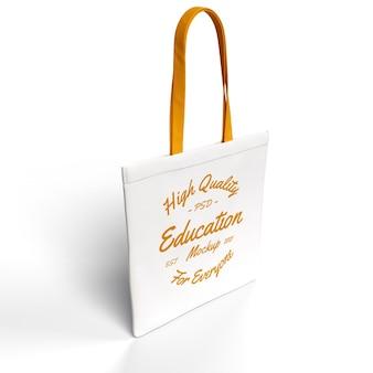 Realistic textured tote sling bag premium mockup side view mockup