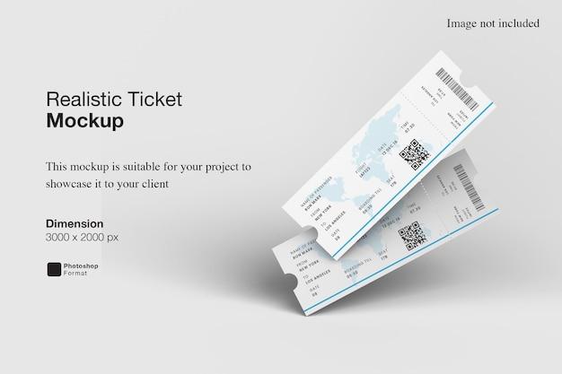 Realistic ticket mockup design rendering