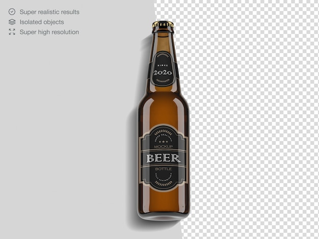 Realistic top view beer bottle mockup template