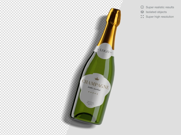 Realistic top view champagne bottle mockup template