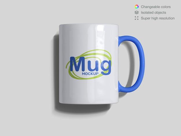Realistic top view classic ceramic mug mockup template
