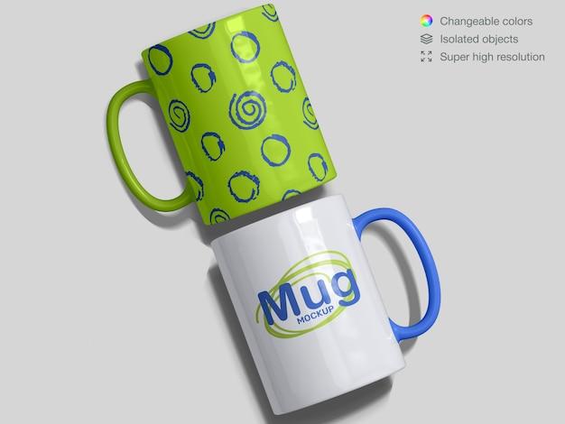 Realistic top view classic ceramic mugs mockup template