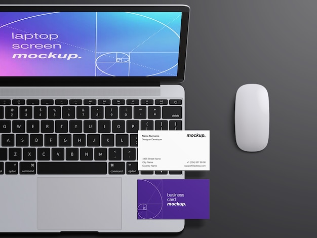 Realistic top view macbook laptop screen and professional business cards mockup