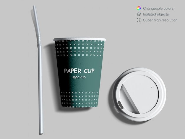 Realistic top view paper coffee cup mockup with lid and cocktail straw