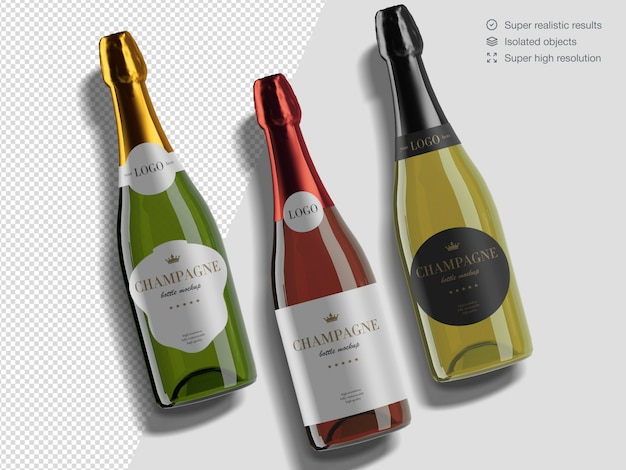 Realistic top view variety of champagne bottles mockup template