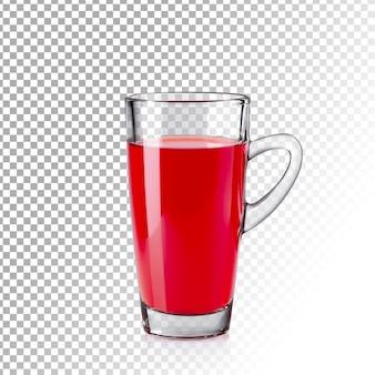 分離された現実的な赤いジュースの透明なガラス