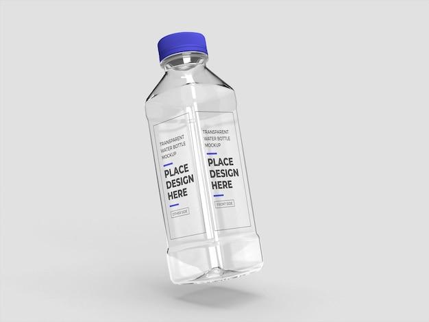 リアルな透明ペットボトルのモックアップ
