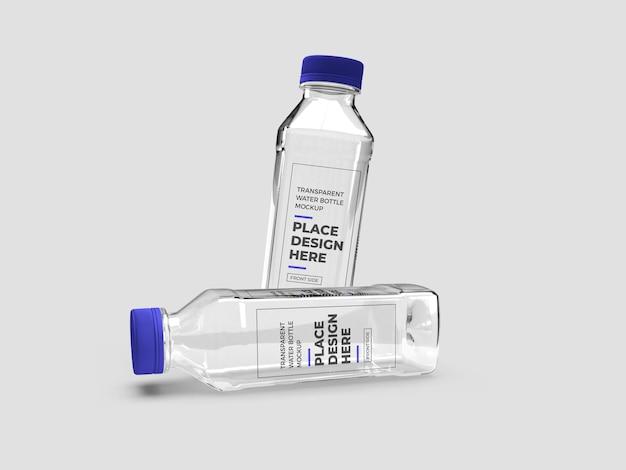 Realistic transparent plastic bottle mockup