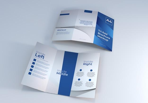 プレゼンテーションのための現実的な3つ折りパンフレットのモックアップ