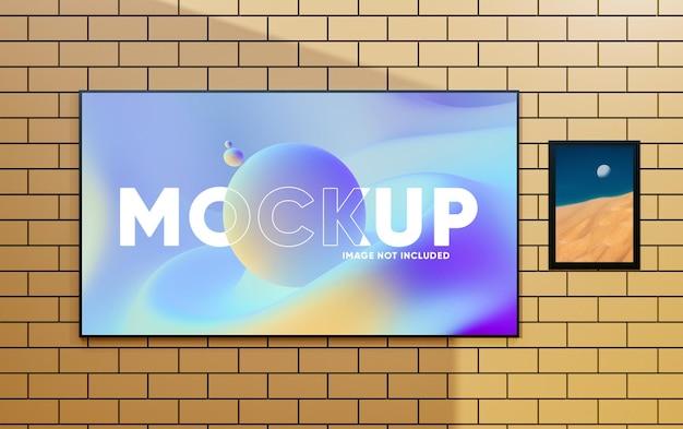 벽에 현실적인 tv 화면 사진 프레임 모형