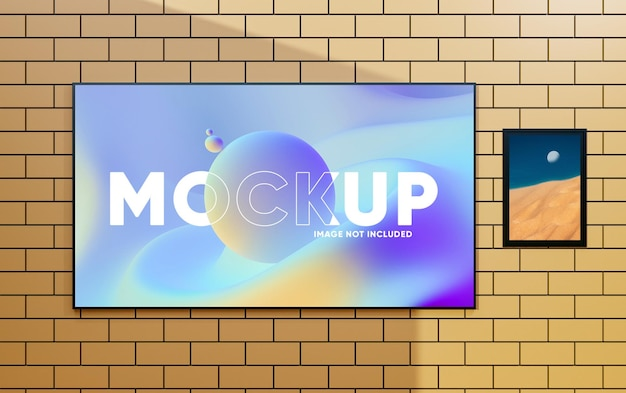 Realistic tv screen  photo frame mockup on wall