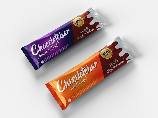 Realistic two chocolate bar snack glossy doff packaging mockup