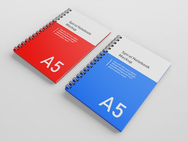 Realistic two company hard cover spiral binder a5 notebook mock up design template side by side in right perspective view