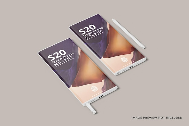 Realistic two smartphone mockup 3d rendering