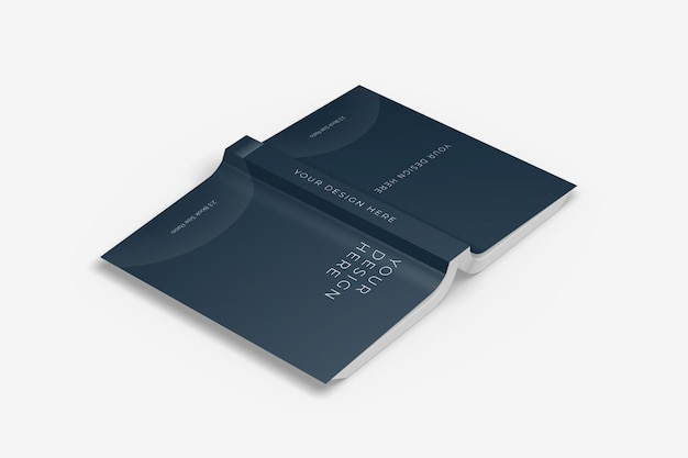Realistic upside down soft cover book mockup