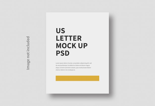 Realistic us letter page size minimal mockup isolated
