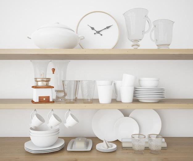 Реалистичные кухонные принадлежности и макет столовых приборов