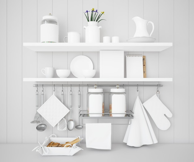 Realistic utensils kitchen mockup