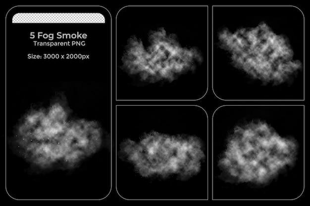 Realistic various shapes of fogs transparent set