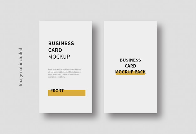 Realistic vertical business card minimal mockup isolated