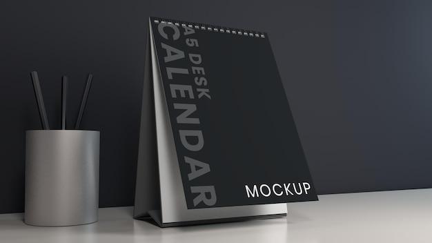 Реалистичный дизайн макетов календаря вертикального стола