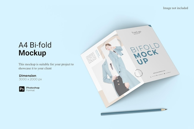 Realistic view a4 bifold mockup design isolated