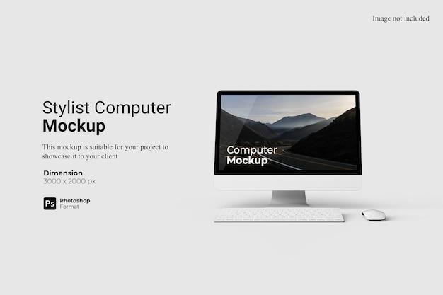 Realistic view stylish computer mockup design isolated