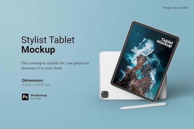 현실적인보기 스타일리스트 태블릿 목업 디자인