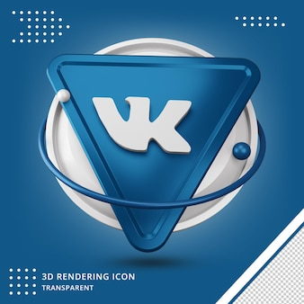 Realistic vk 3d icon in 3d rendering isolated