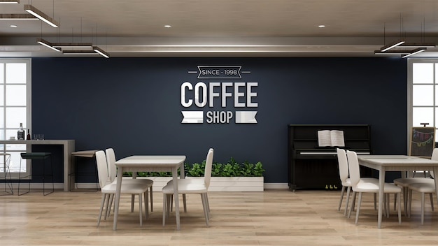 Realistic wall logo mockup in the coffee shop or restaurant with navy wall