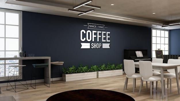 네이비 벽이 있는 커피숍이나 레스토랑의 현실적인 벽 로고 모형