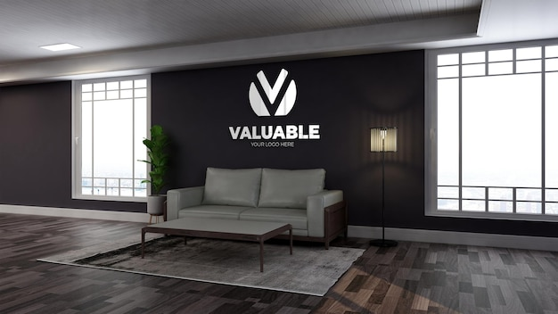 Realistic wall logo mockup in wooden office lobby waiting room