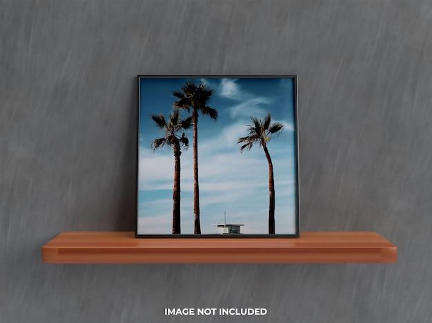 Realistic wall mockup 3d render wall mount living room mockup