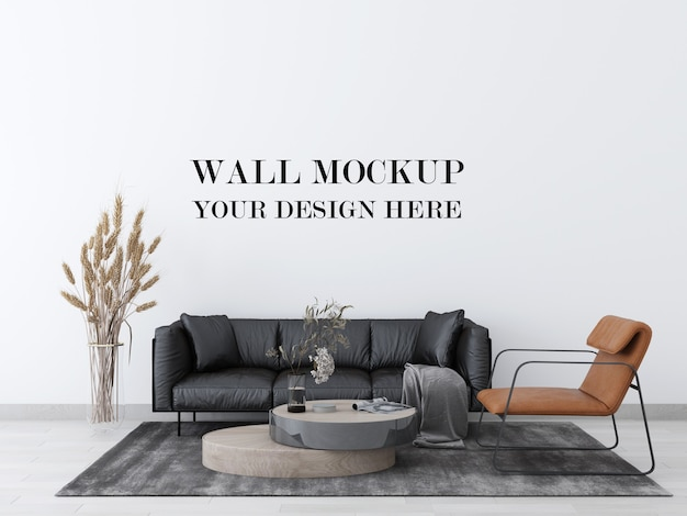 Realistic wall mockup of living room with modern leather furniture 3d render