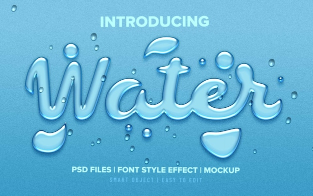 Realistic water drops font style text effect