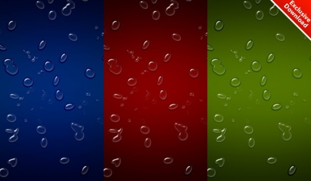 Realistic waterdrops background in  colors   psd included