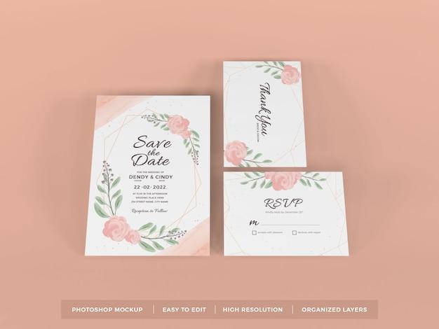 現実的な結婚式の招待状のモックアップテンプレート