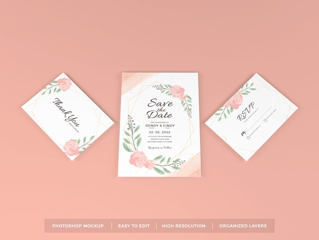 Realistic wedding invitation mockup template