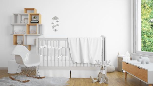Реалистичная белая детская спальня с окном и колыбелью