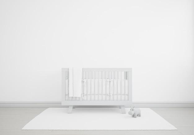 Realistica cameretta bianca con culla