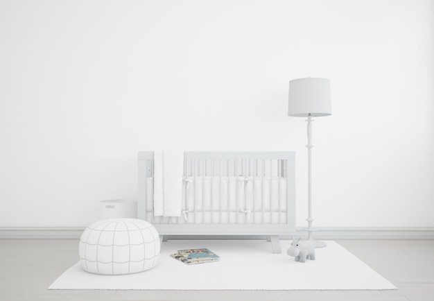 Realistic white baby bedroom with a cradle