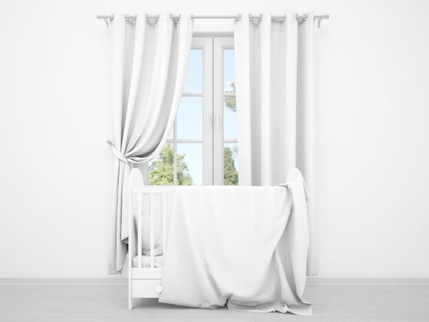 Realistica cameretta per bambini bianca con finestra e culla