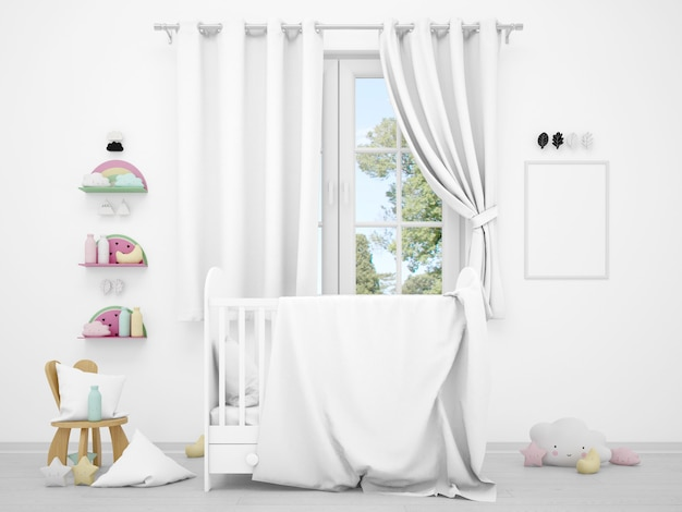 Realistic white baby bedroom with a window and a cradle