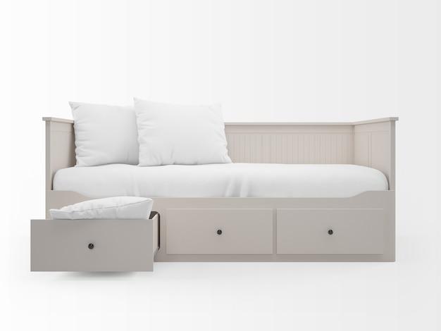 Реалистичная белая кровать с ящиками