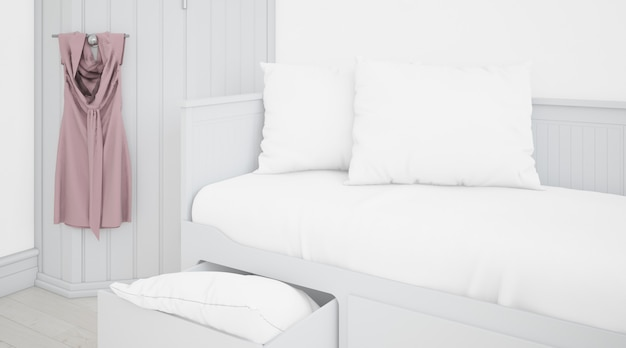 Realistic white bedroom with furniture