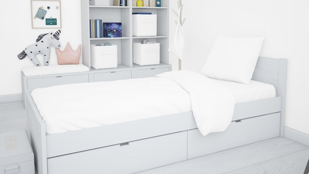 現実的な白い寝室