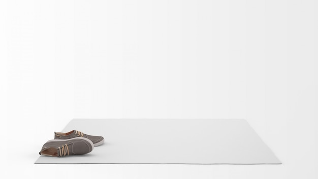 Реалистичный белый ковер с парой туфель