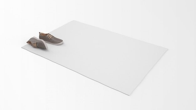 Realistic white carpet with a pair of shoes