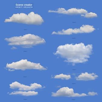 현실적인 흰 구름 세트